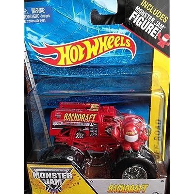 Monster Jam BACKDRAFT # 74 includes monster jam figure hot wheels off-road: Toys & Games