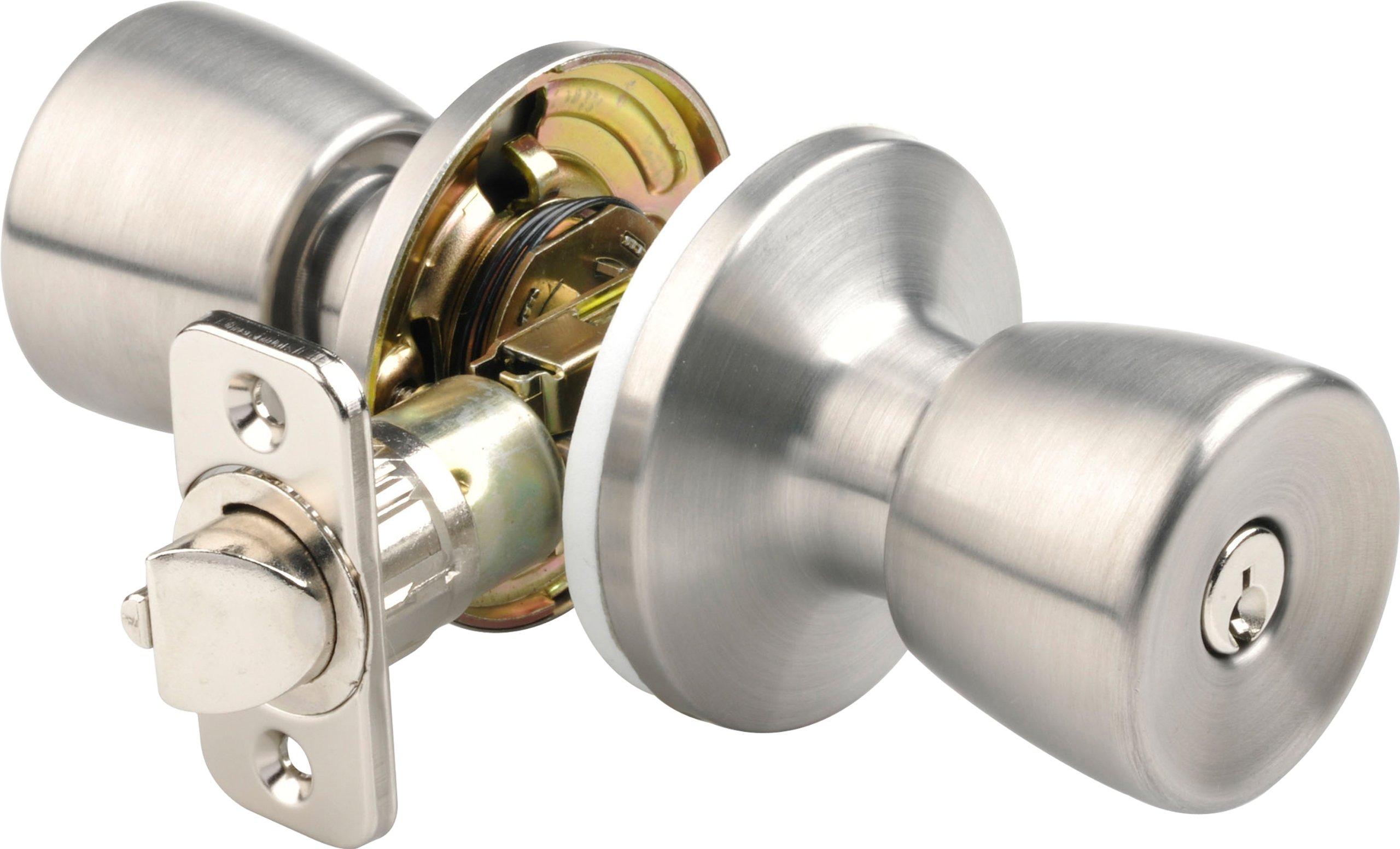 Brinks 2710-130 Mobile Home Keyed Entry Tulip Style Door Knob, Stainless Steel