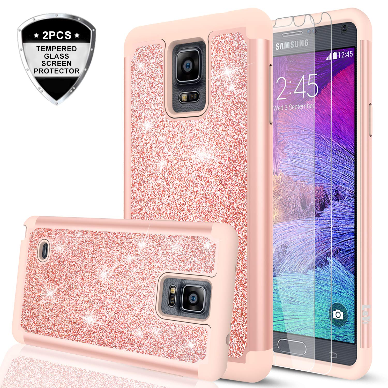 Galaxy Note 8 Glitter Case with 3D PTE Screen Protector [2 Pack], LeYi Bling Girls Women Cute Design Dual Layer Hybrid Heavy Duty Protective Phone Case for Samsung Galaxy Note 8 TP Rose Gold 4335011134