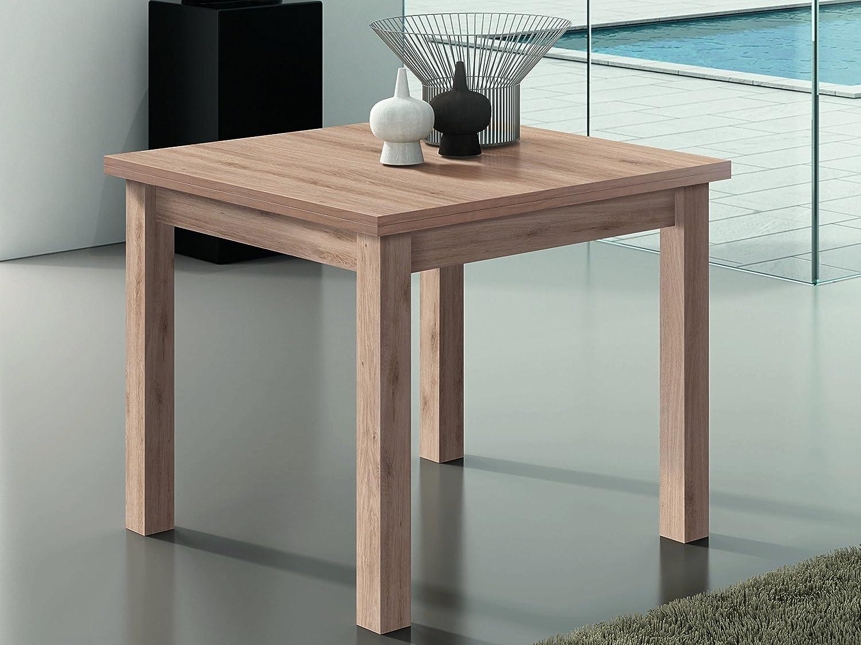 RAMIS-mesa de comedor cuadrada extensible acabado en roble claro ...