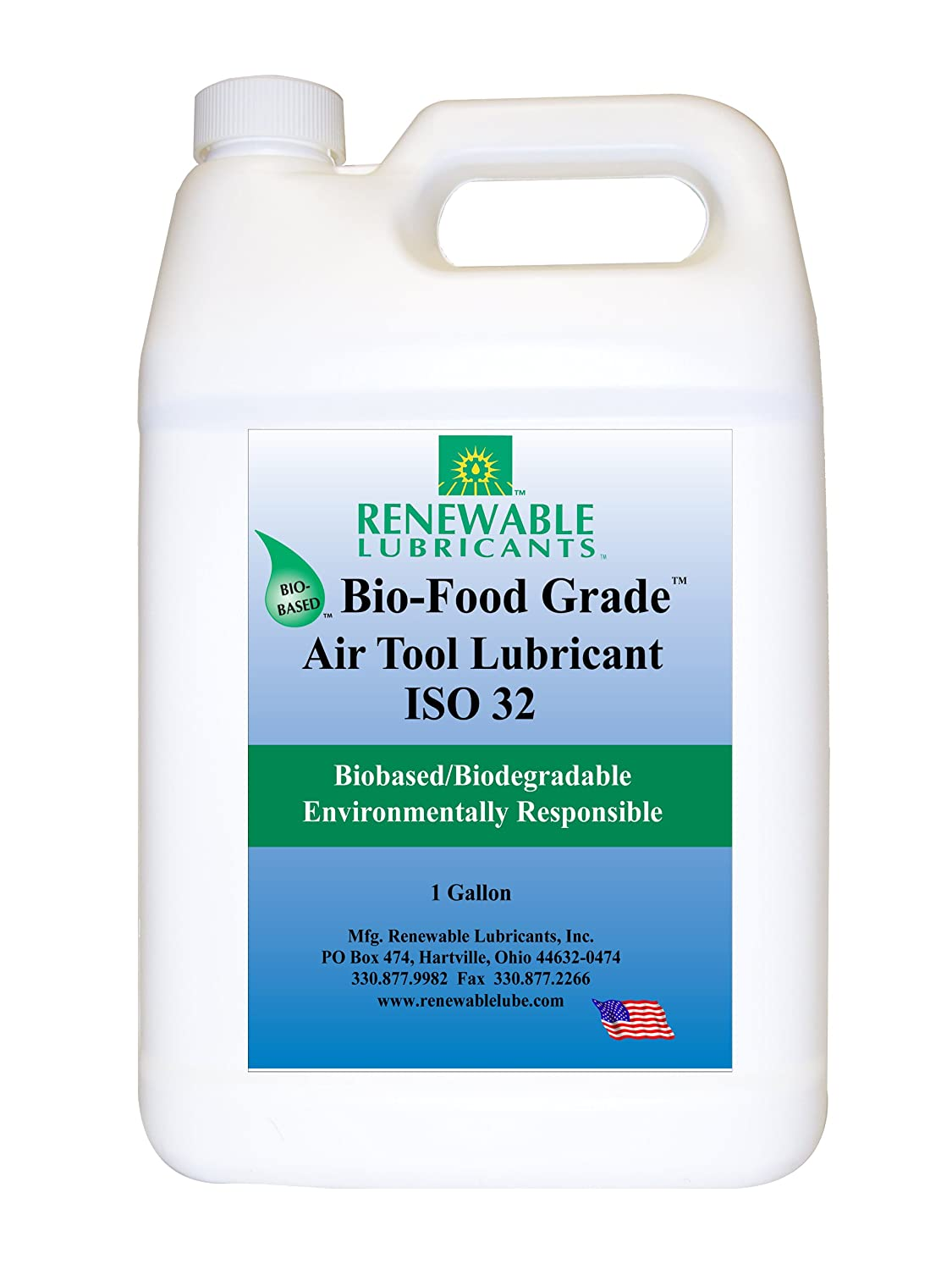 Renewable Lubricants Bio-Food Grade ISO 32 Air Tool Lubricant, 1 Gallon Bottle (87463)