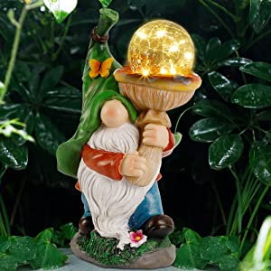 Prsildan Garden Gnome Statue Outdoor, Holding Mushroom, Large Magic Orb with Built-in Solar String Lights, Hand-Painted and Special Coating, Durable Decor for Lawn Patio Spring Summer, 12 X 7 in