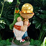 Prsildan Garden Gnome Statue Outdoor, Holding Mushroom, Large Magic Orb with Built-in Solar String Lights, Hand-Painted and S