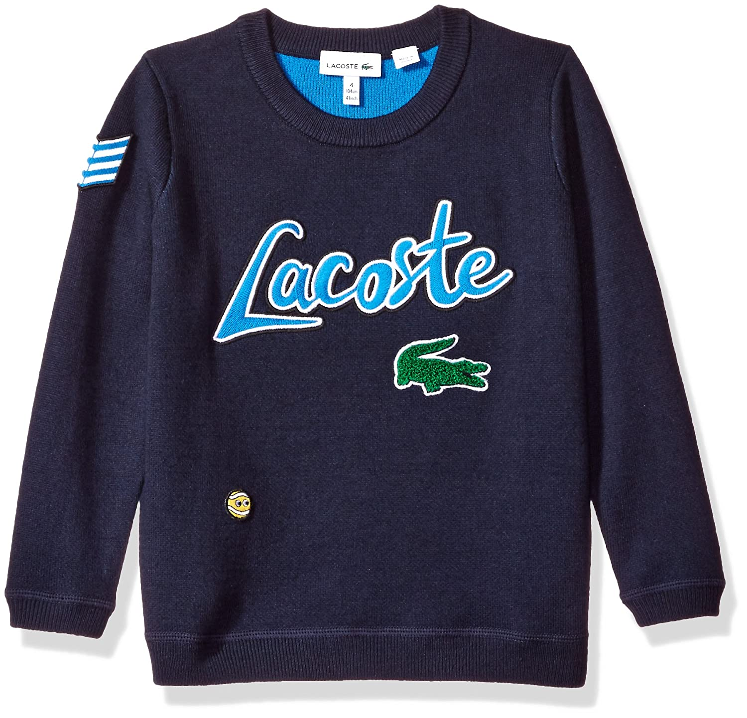 Lacoste Boys' Crew Neck Holiday Animation Sweater West Indies Blue/Black/Black 10A AJ9809-51