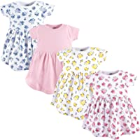 Luvable Friends Baby Girls' Cotton Dress, 4 Pack
