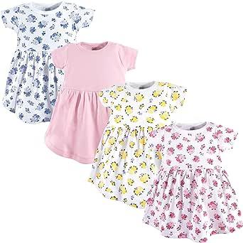 Luvable Friends Baby Cotton Dress, 4 Pack