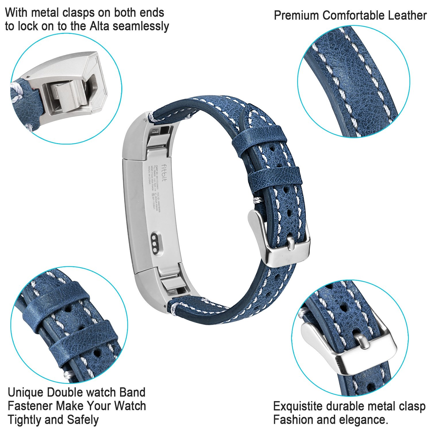 Classic Genuine Leather Strap with Metal Connector Compatible with Fitbit Alta//Fitbit Ace//Fitbit Alta Hr Men and Women ESeekGo Band Compatible with Fitbit Alta//Alta HR//Fitbit Ace