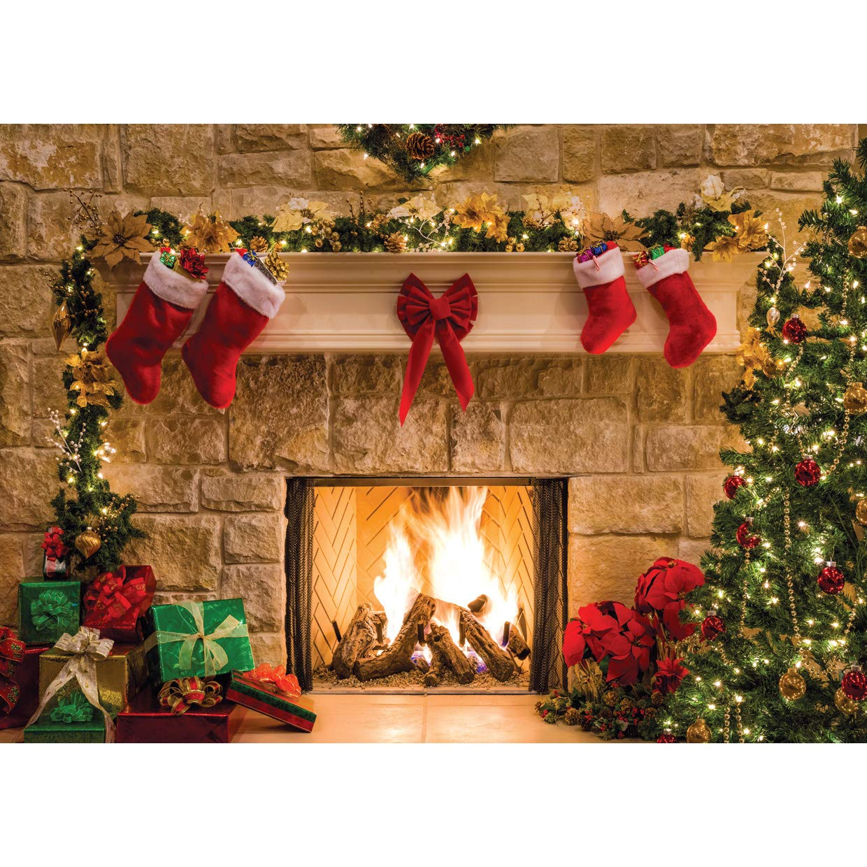 Christmas Fireplace.Sjoloon 7x5ft Christmas Photography Backdrops Child Christmas Fireplace Decoration Background For Photo Studio 11209