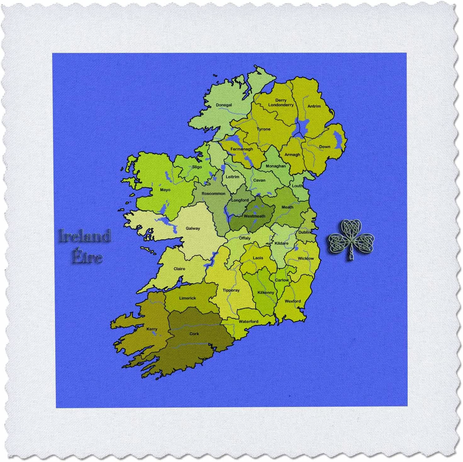 The Irish Republic and Northern Ireland with All Counties Shown 3dRose Colorful Green Map of All Ireland - Quilt Square 10 by 10-Inch qs/_110030/_1