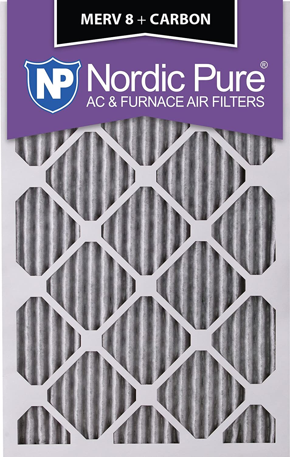 Nordic Pure 18x25x1 MERV 8 Pleated Plus Carbon AC Furnace Air Filters 18x25x1PM8 C 6 Piece