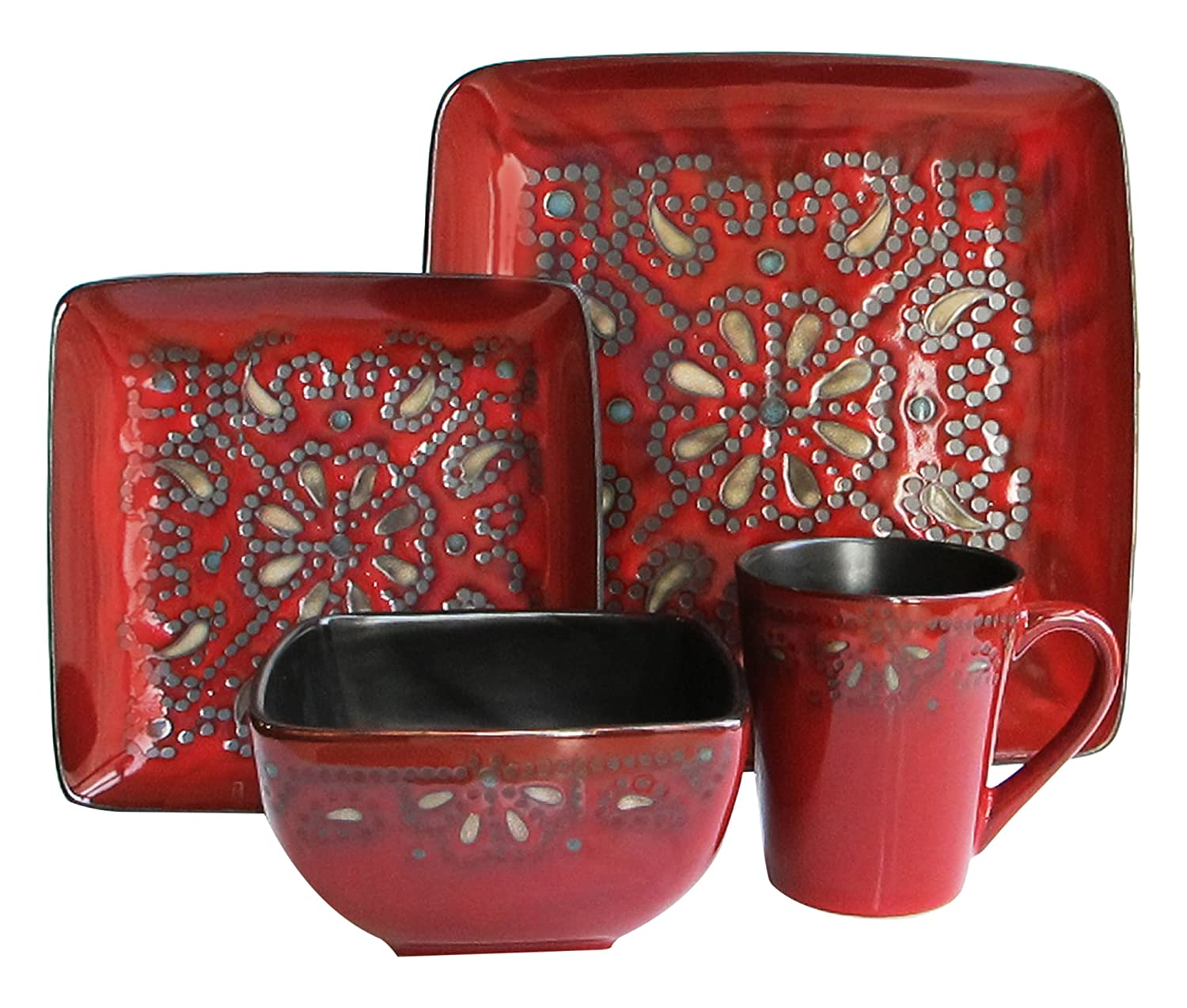 American Atelier Marquee 16-Piece Reactive Square Dinnerware Set, Red 5565-16