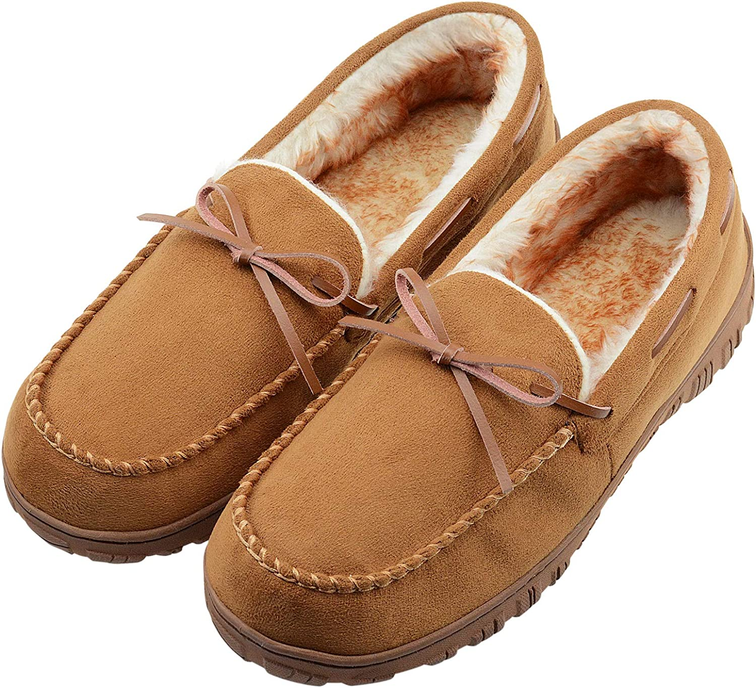 LseLom Mens-Slippers-Moccasin-Microsuede-Slip-on-Indoor-Outdoor