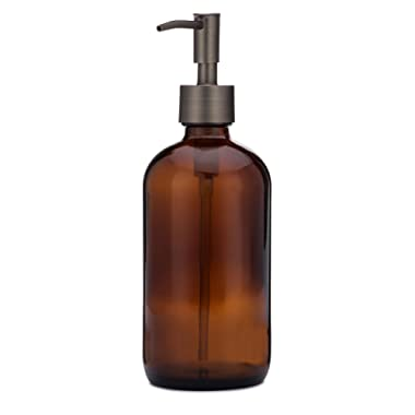 Market Amber Glass Soap Dispenser Great for Bathroom and Kitchen Liquid Hand Soap and Lotion (Rustic Bronze)