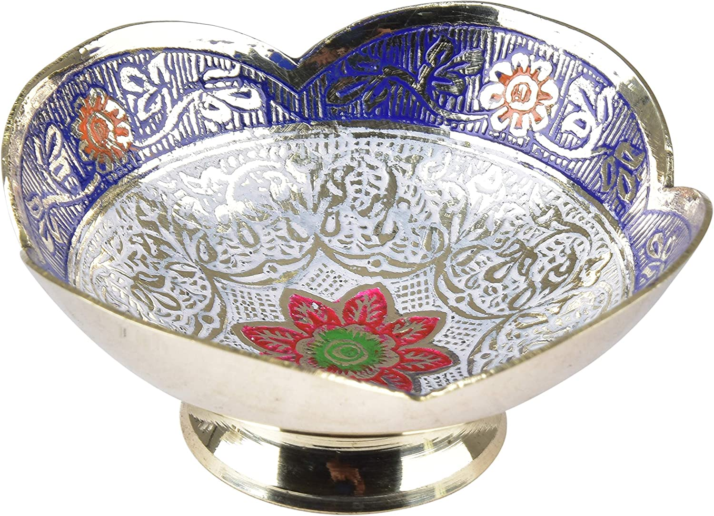 diollo Brass Decorative Dry Fruit Bowl Kitchenware Gift Turkish Design Bowl | Color: Blue | Dia: 3.5 Inch