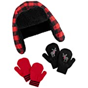 Simple Joys by Carter's Boys' Hat and Mitten Set, Buffalo Check, 12-24 Months