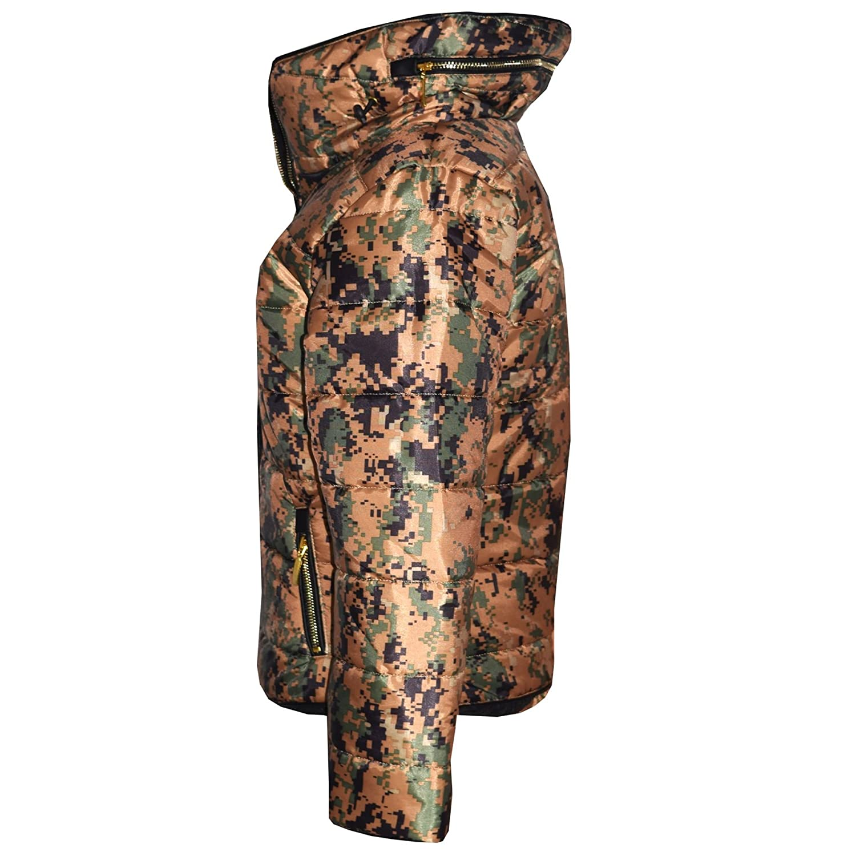 Girls Jacket Kids Padded Camouflage Splash Puffer Bubble Fur Collar Warm Coats