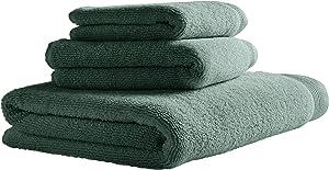 Amazon Brand – Stone & Beam Organic Cotton Towel Set, Set of 3, Lagoon
