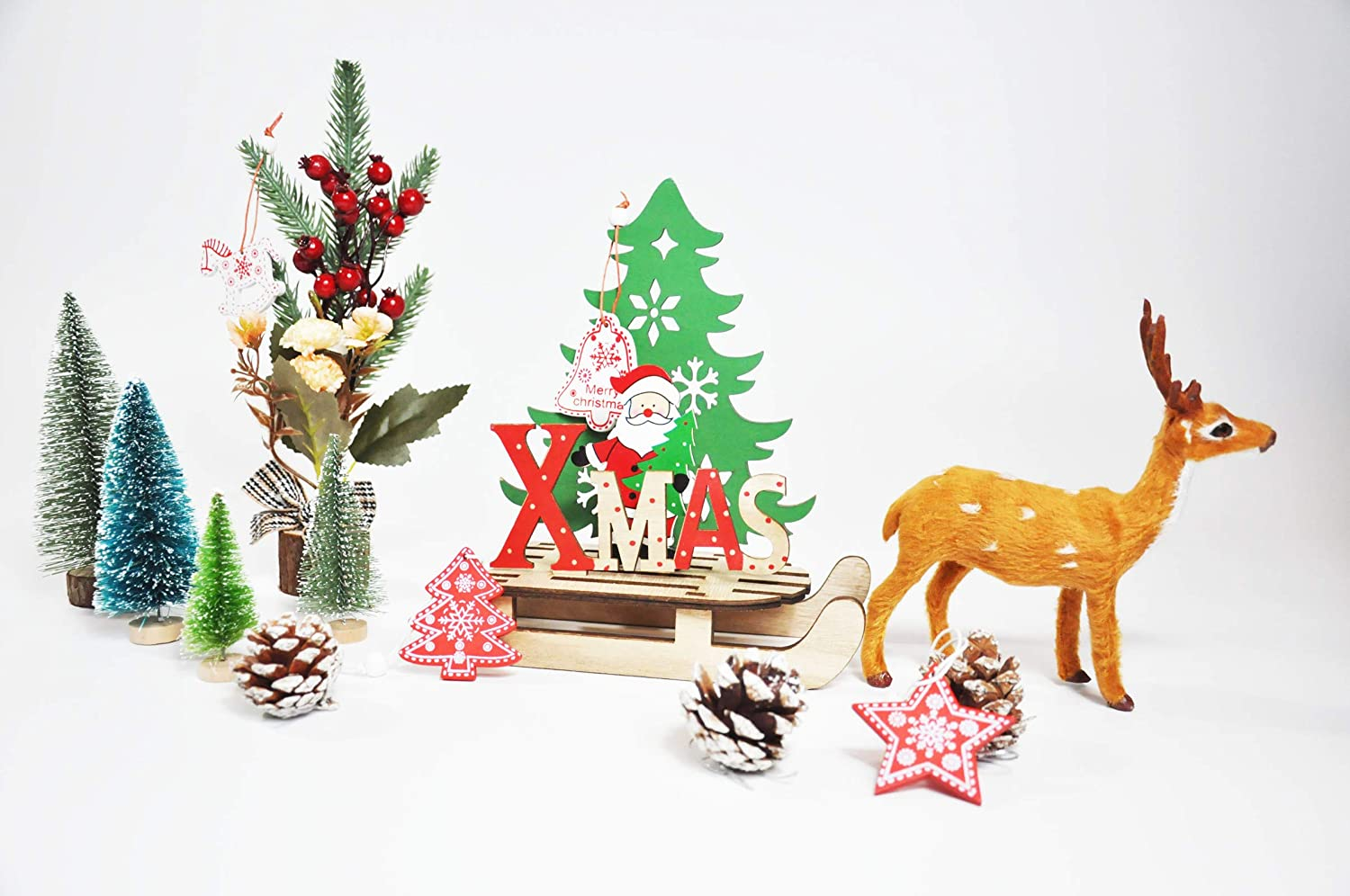 YOYOLIFE Christmas Decorations, Wooden Holiday Ornaments Christmas Tree, Santa Claus, Sleigh, elk 14-Piece Set, as and Holiday Tabletop