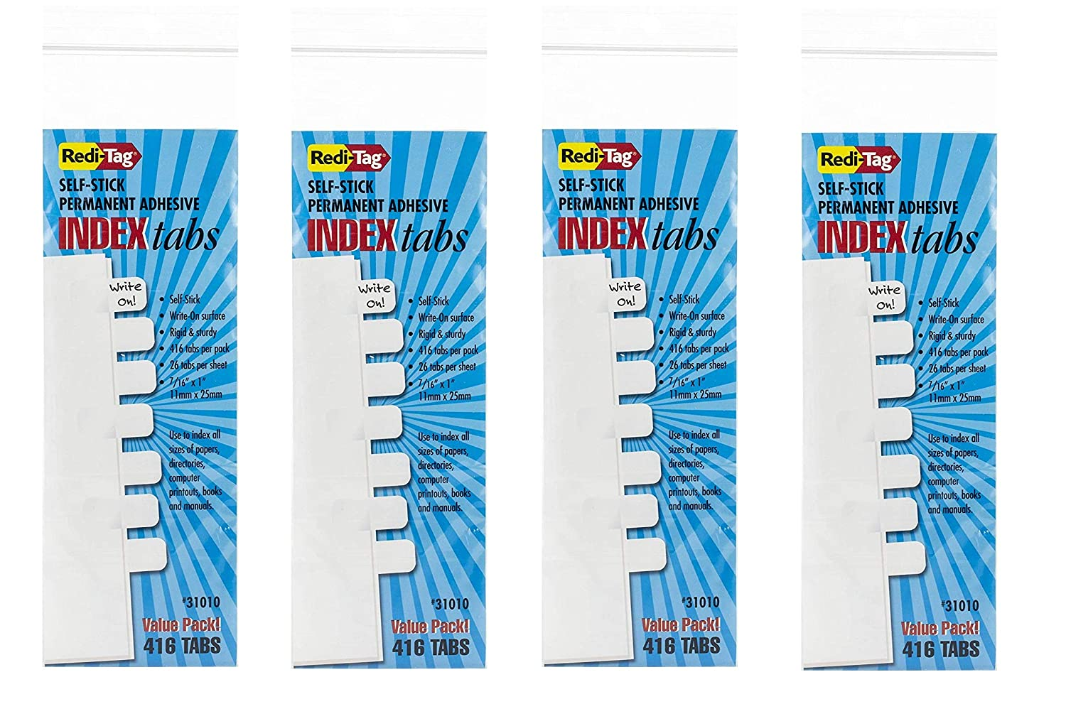 Redi-Tag Customizable Write-On Index Tabs, Permanent Adhesive Sticks to  Page, 7/16 x 1 Inches, Bulk Packed, 416 tabs Per Pack, White (31010)