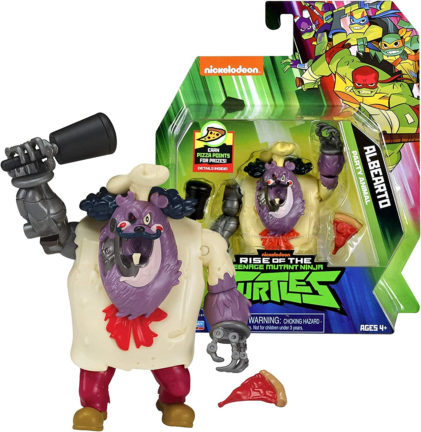 Year 2018 Rise of The Teenage Mutant TMNT Ninja Turtles Series 5 Inch Tall Figure - Party Animal ALBEARTO with Mace and Pizza Slice