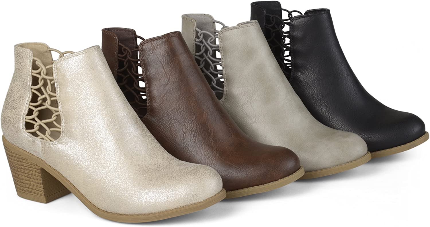 Brinley Co Womens Faux Leather Stacked Wood Heel Booties