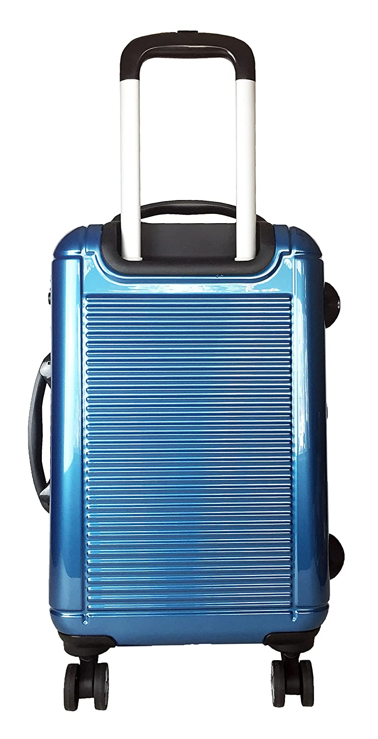 3 Pc Luggage Set Hardside Rolling 4 Wheel Spinner Upright CarryOn Travel Blue