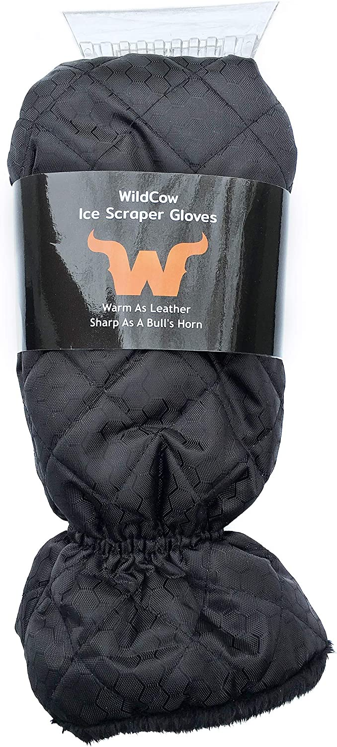 WildCow Premium Ice Scraper Mitt Glove for Car Windshield Snow Scraper Mitten Blue Soft and Thick