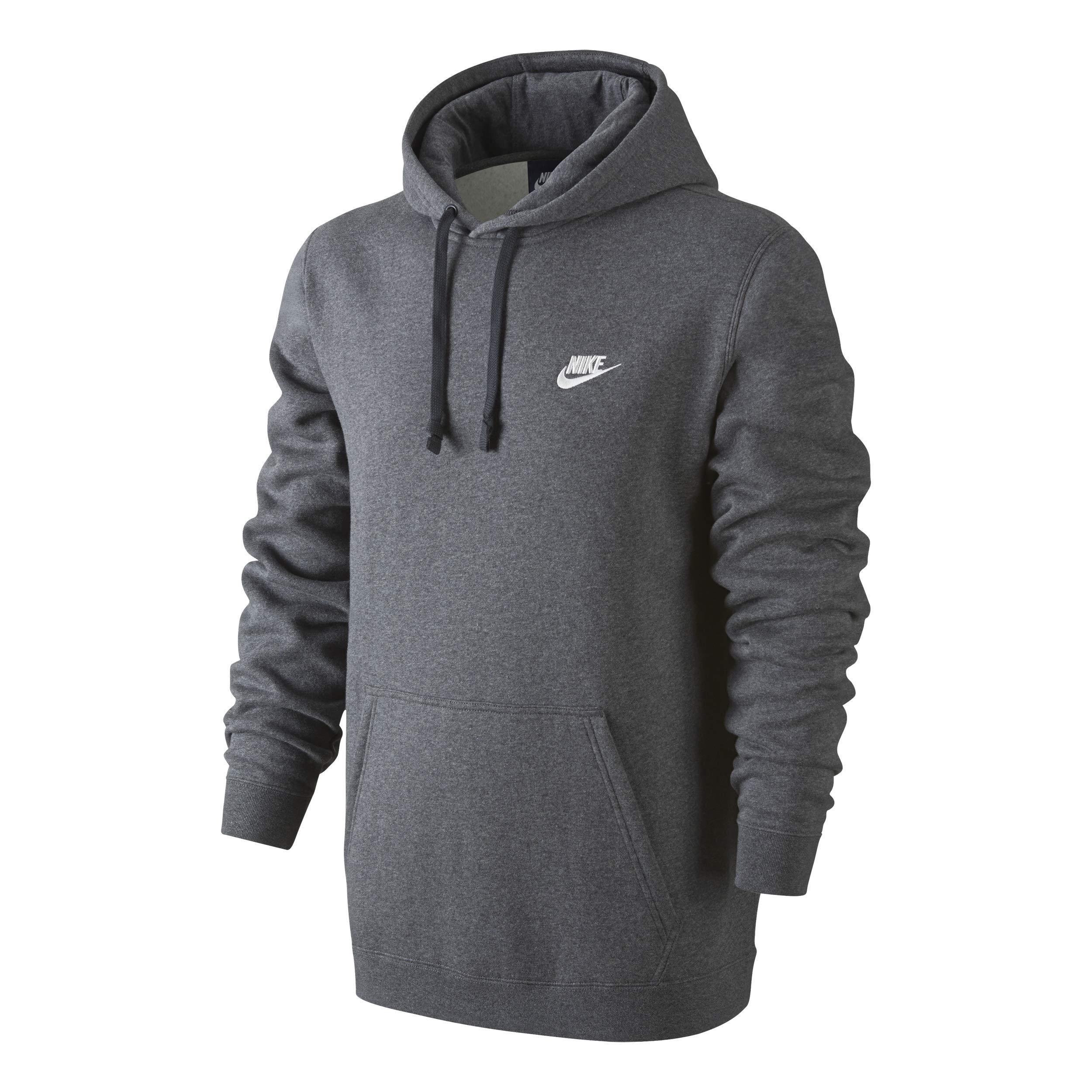 Men's Nike Sportswear Club Pullover Hoodie, Fleece Sweatshirt for Men with Paneled Hood, Charcoal Heather/Charcoal Heather/White, S by Nike (Image #1)