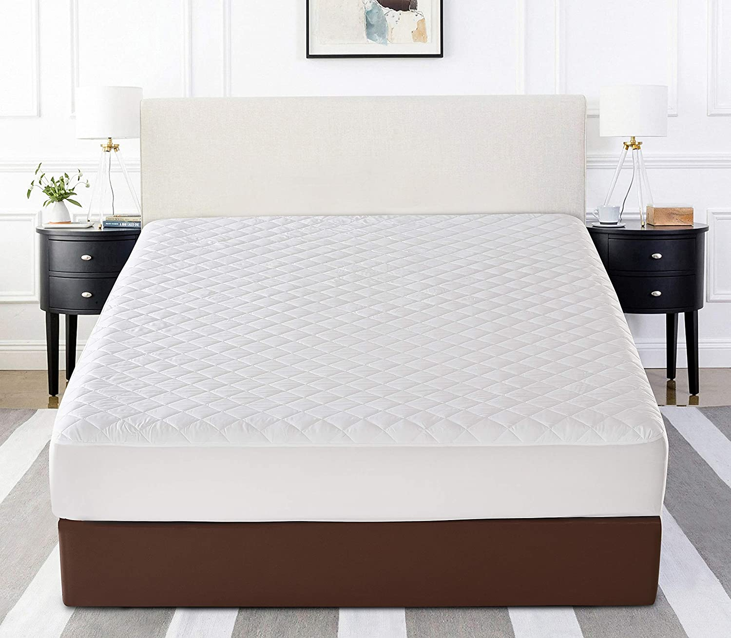 Home Beyond Premium Quilted Mattress Pad Protector - Waterproof Fitted Mattress Cover with Deep Pocket Knitted Skirt Stretches up to 18 Inches - Mattress Topper (White, Twin)