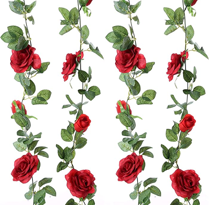 2 PCS (13 Ft) Artificial Rose Vine Flowers Plants Fake Flower Hanging Rose Ivy Silk Garland Indoor and Outdoor Bride Garland Decor Wedding Arch Home Party Garden Craft Decor Red