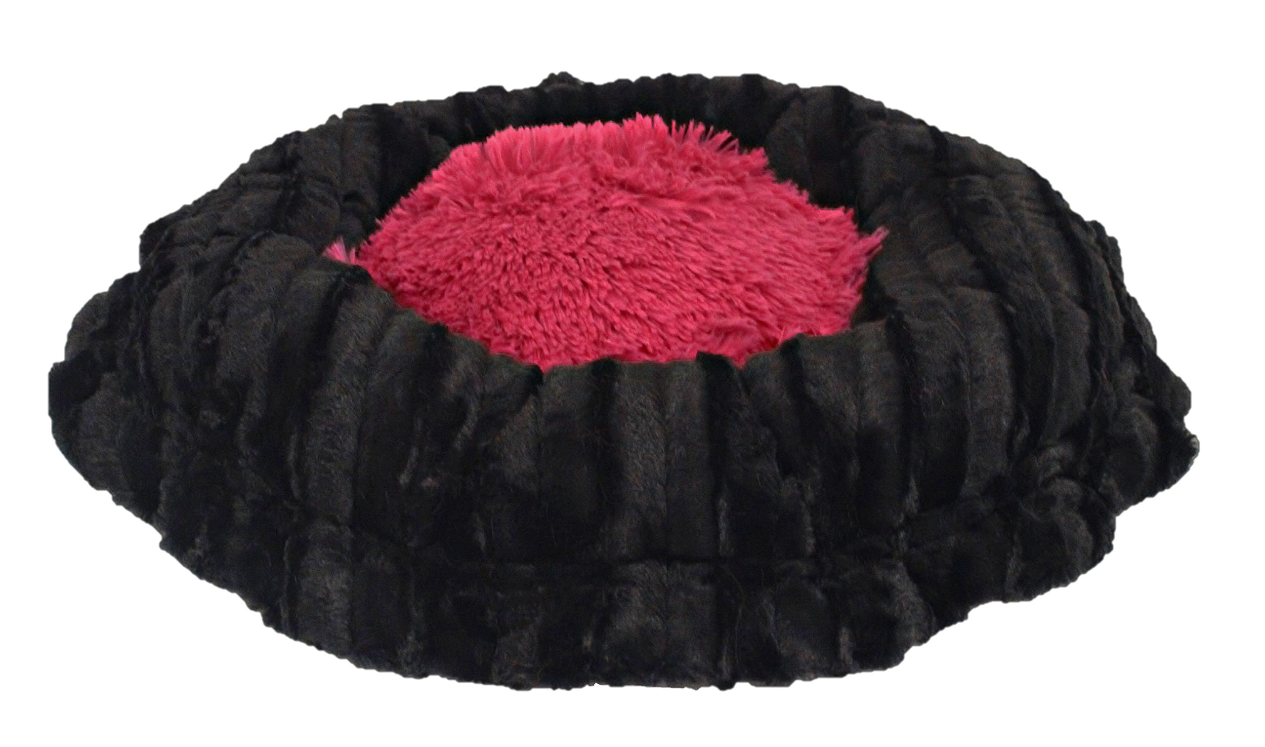 BESSIE AND BARNIE Ultra Plush Black Puma/Lollipop (Patch) Shag Deluxe Dog/Pet Lily Pod Bed by BESSIE AND BARNIE