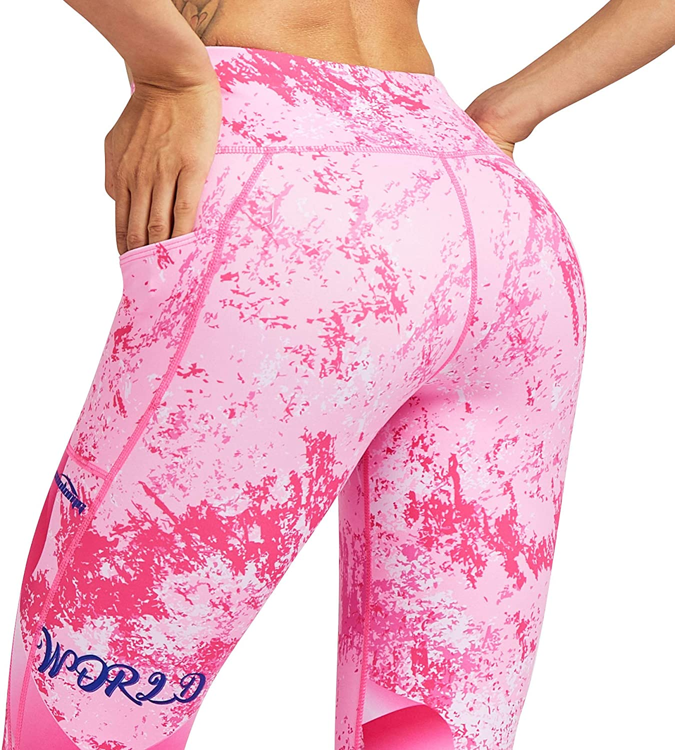 Newlegend Womens Yoga Pants Compression Leggings Printed Workout Tights for Running Gym Fitness Hidden Pockets