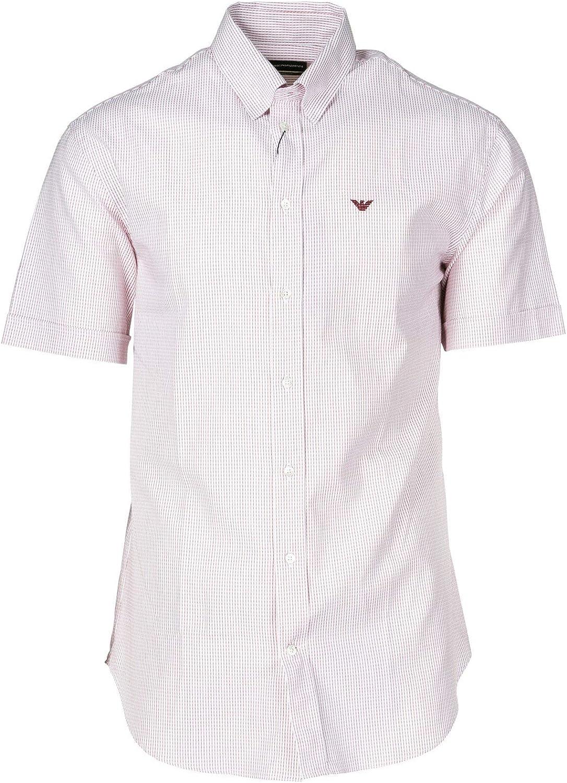 Emporio Armani Camisa de Mangas Cortas Hombre Bianco 40 cm: Amazon.es: Ropa y accesorios