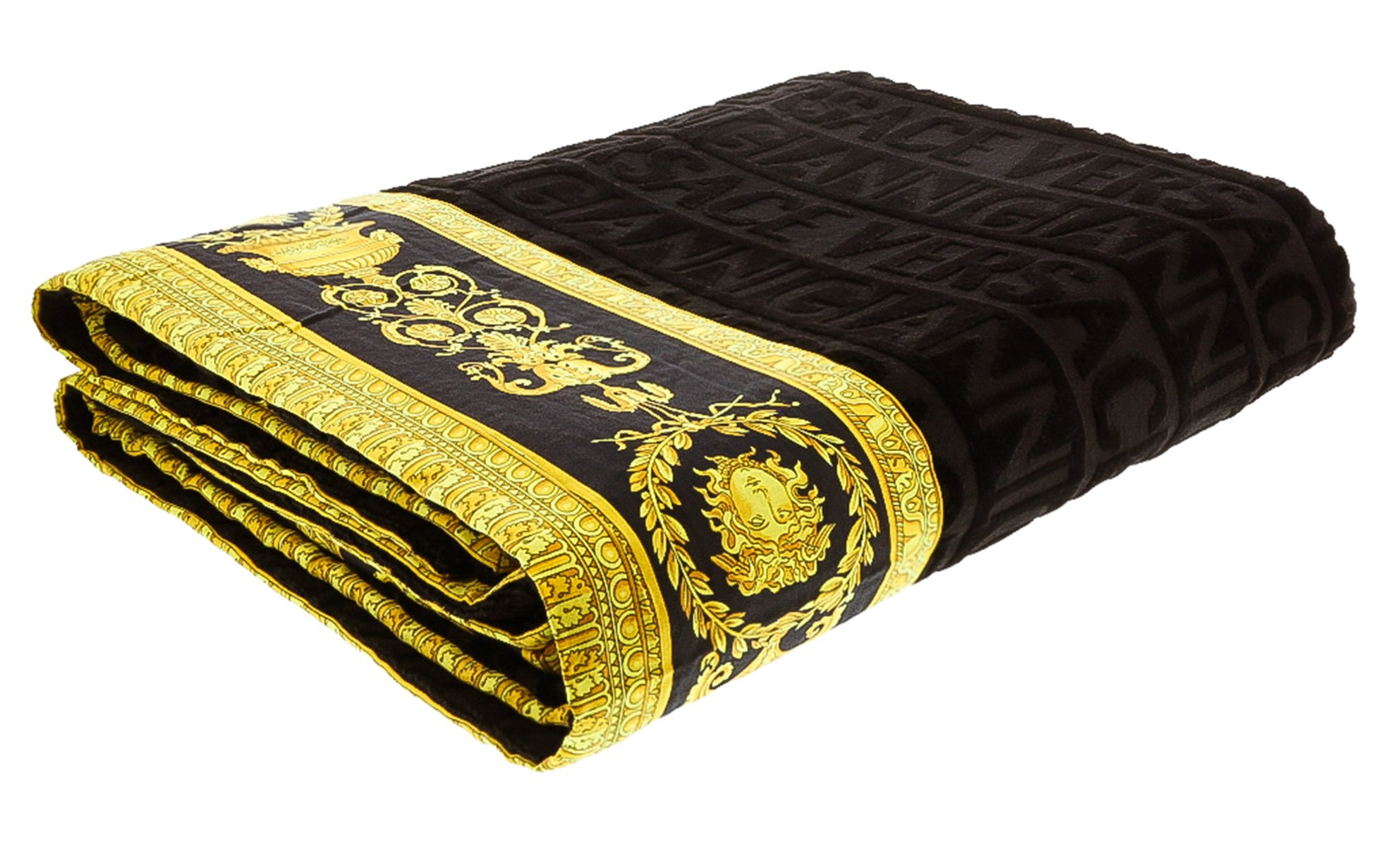 Versace Gianni Unisex Large Throw Bath Beach Towel Medusa Head Barocco Detail Black