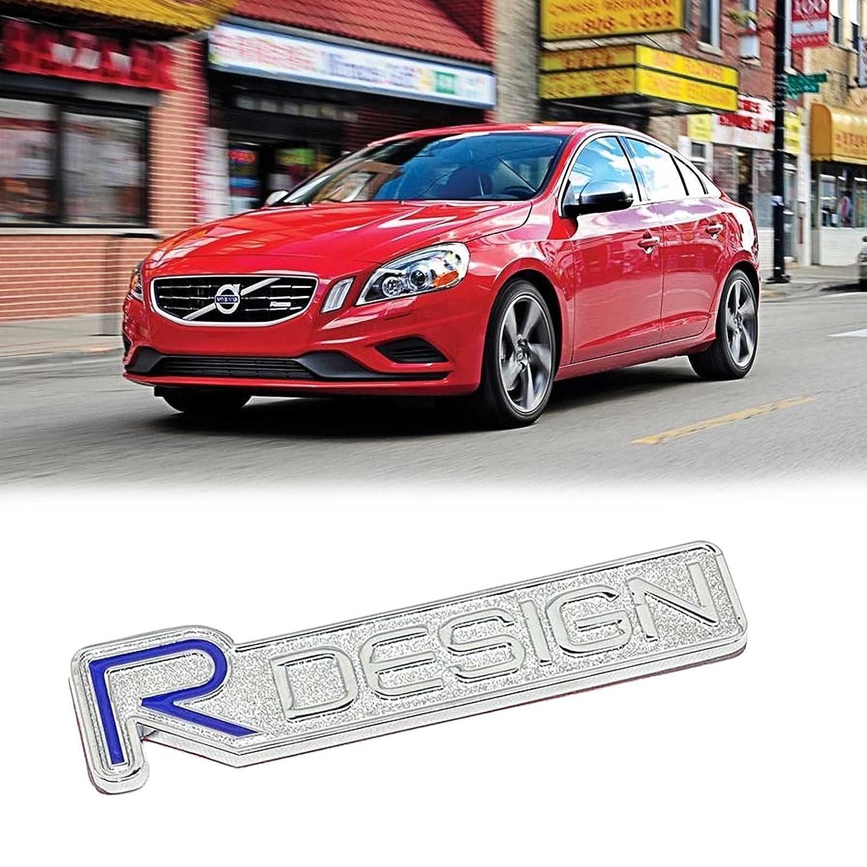Amazon com silver r design letter badge chrome emblem fender lid trunk sticker decal for volvo automotive