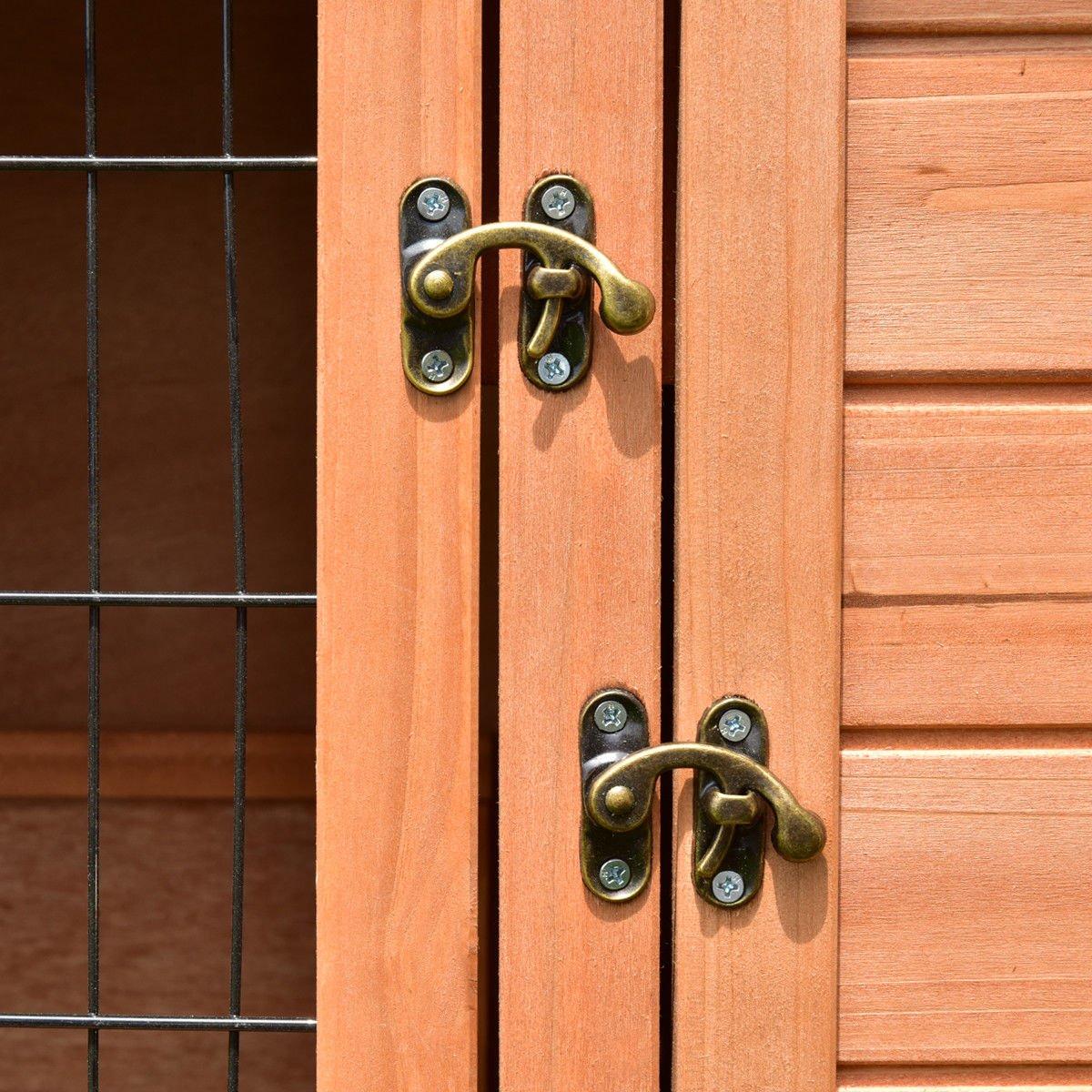 Tangkula Chicken Coop 48'' Rabbit Hutch Wooden Garden Backyard Bunny Hen House Pet Supplies with Ladder by Tangkula (Image #9)