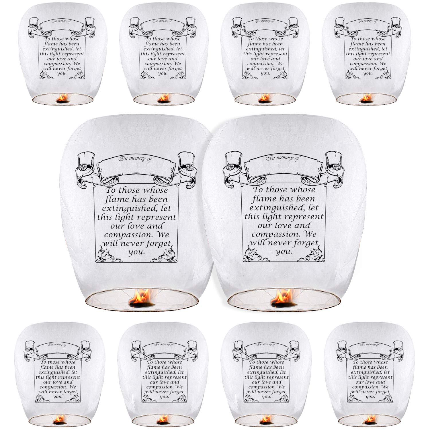 Sky Lanterns & Chinese Lanterns (10 Pack) ECO Friendly, 100% Biodegradable - Beautiful Lantern for White for Weddings, Birthdays, Memorials and Much More by Smeiker (10)