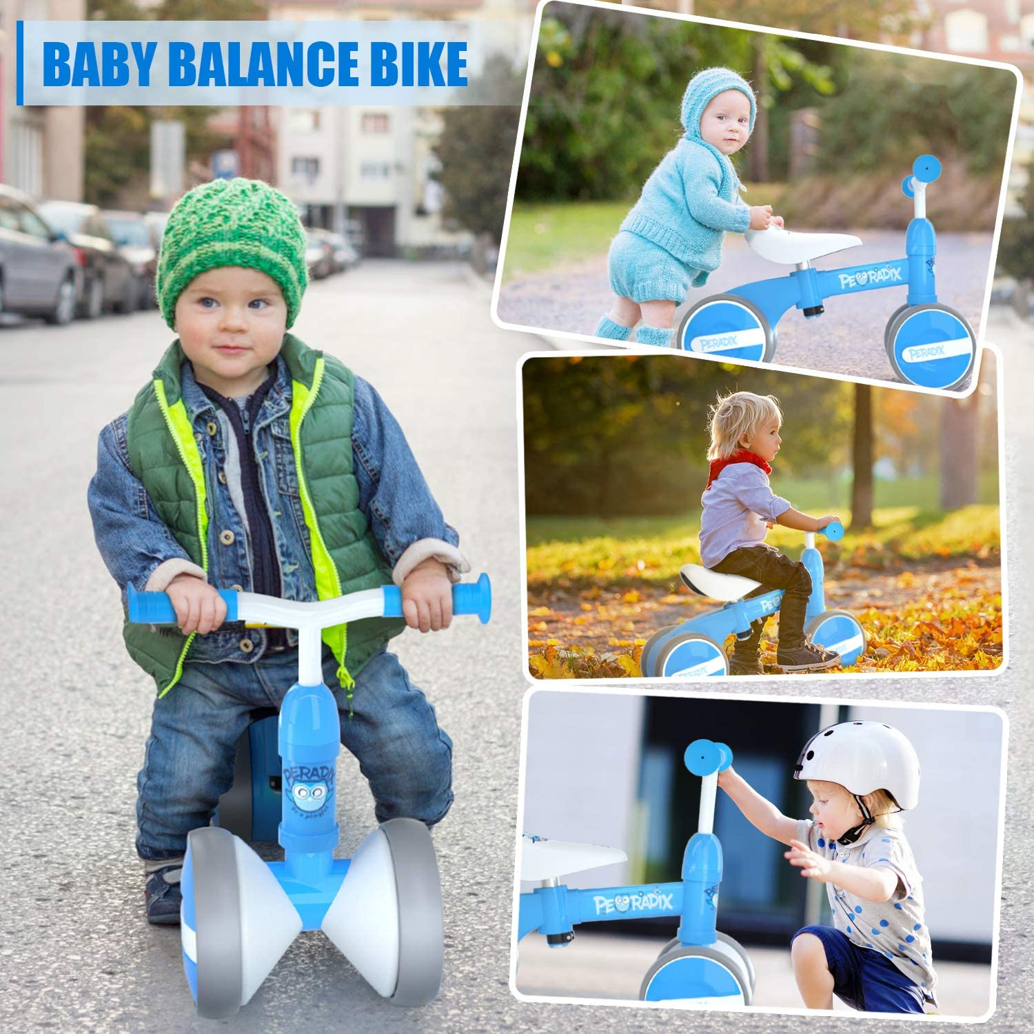 Peradix Baby Balance Bikes Adjustable Bicycle 10-36 Months Toddlers Walker Pink No Pedal 4 Wheels Infant Toddler Bicycle Best First Birthday Gift Riding Toys for 1 Year Old Children Boys Girls