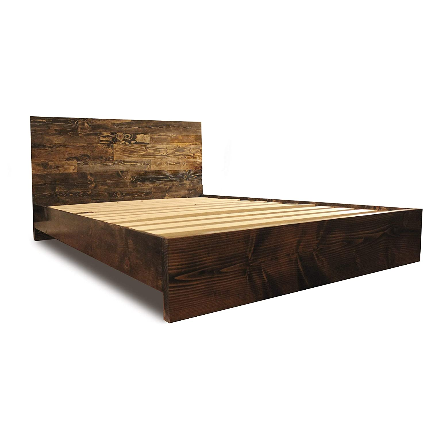 Wooden Platform Bed Frame and Headboard Modern and Contemporary Rustic and Reclaimed Style Old World Solid Wood