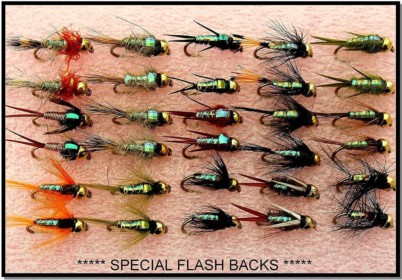Arc fishing supplies Forellenfliegenfliegen Goldkopf 30 St/ück Set 33J **** Spezieller Blinkhaken Fliegenfliegen Gr/ö/ße 12