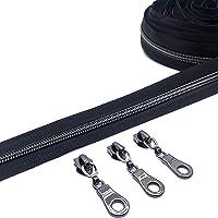 Nylon Zipper Tape Nylon Zippers by The Yard for Sewing Bulk Black Teeth #5 10 Yards with 20Pcs Pulls Nickel Slider Long…