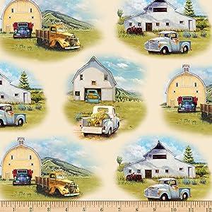 Elizabeth's Studio Vintage Trucks Scenic Cream Fabric by The Yard