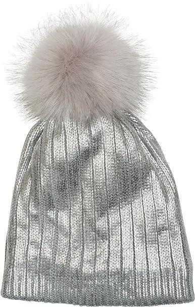 styleBREAKER calda cuffia con pon pon con motivo metallico 27a73a03b8a6