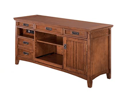 Home Office Large Credenza Desk With Short Hutch In Oak Stained Finish