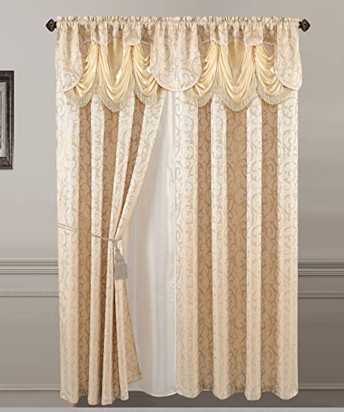 All American Collection New 2 Panel Jacquard-Like Polyester Curtain