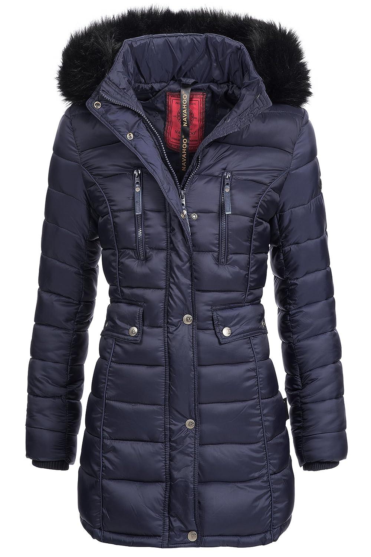 Winterjacke | Wintermantel | Stepp-Jacke für Damen Modell Ilyana von Navahoo - eleganter Stepp-Mantel im schlanken Parka-Stil mit Fellkapuze aus Kunstpelz ideal für den Winter