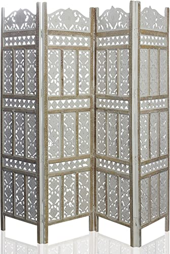 India Overseas Trading Corporation 6 Ft. Large Room Divider 4 Panels Decorative Wooden Screen Folding Privacy Screen, Wood, 72 White Wash