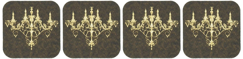 3dRose CST/_32510/_1 Chandelier Gold Damask Soft Coasters Set of 4