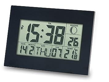 Reloj DCF con Despertador, Fechador, Termometro, Pantalla Grande METEO ZP24 para Pared o Escritorio, Color negro: Amazon.es: Hogar