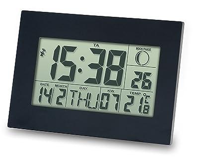 Reloj DCF con Despertador, Fechador, Termometro, Pantalla Grande METEO ZP24 para Pared o